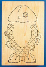 Fish Sack Flap Template Rubber Stamp by Darcie's - for Paper Bag, with Window