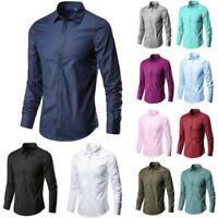 Men's Fashion Business Leisure Lapel Pure Color Long-sleeved Shirt Top Blouse L