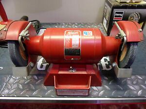 """Milwaukee Vintage Red 4935  6"""" Bench Grinder 1/2'' Arbor 3.8A Made in the USA"""