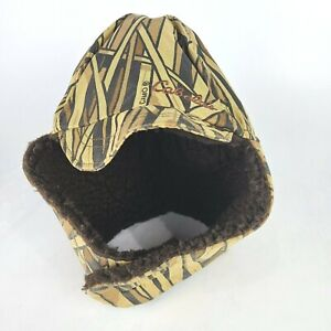 Vtg CABELA'S Hunting Trapper Hat Fleece Lined Cattail Camo Ear Flaps Winter