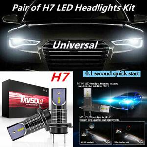 Pair H7 LED Headlight Lamp Bulb 26000LM No Error 6000K Universal 360 Degree Beam