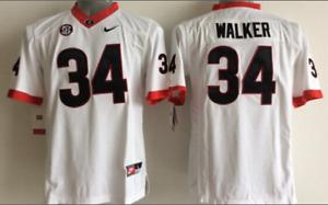 NEW Men's Georgia Bulldogs White #34 WALKER Football Jersey