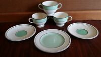 6 pce ANTIQUE 1927 WEDGWOOD QUEENSWARE GREEN RIBBED CREAM SOUP CUPS PLATE A6925