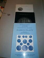 Lot de 3 Catalogues vente aux  enchére Jetons médaille Monnaies numismatique
