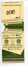 CALEO BROOMALL PA GE IDC WASHERS DRYERSLAUNDRY EQYIPMENT VINTAGE MATCHBOOK