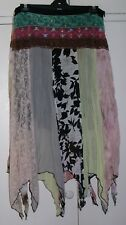 HIPPIE Belly Dancing GYPSY Sequin LACE Asymmetrical HANKY Hem longer SKIRT sz XL