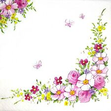 Bulk-0,85 $ /pc! 3 x Single Paper Napkins For Decoupage Pink Flowers Corner M167