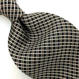 Jones New York Tie Gold Black Woven Squares Silk Necktie Striped I17-314 New