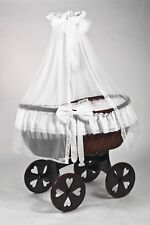 Wicker Crib Moses Basket Stubenwagen Ophelia MAHOGANY Antique White Heart MJmark