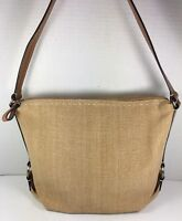 Fossil Tan Fabric Shoulder Bag with Brown Leather Trim