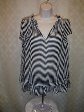 Short Sleeve Cheer Blouse LG  ELLE color Black Striped 100% polyester NWT