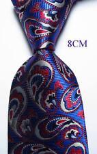 New Classic Paisley Blue White Red JACQUARD WOVEN 100% Silk Men's Tie Necktie