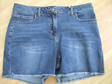 BODEN  DENIM BLUE STRETCH FRINGED SHORT SHORTS SIZE 8 BNWOT WJO47