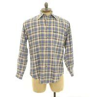 Faconnable Mens Dress Shirt Size M Button Down Blue Beige Plaid Cotton EUC B75