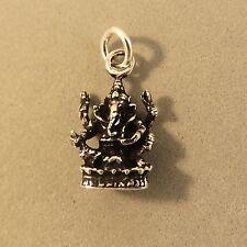 .925 Sterling Silver 3-D GANESHA CHARM NEW Pendant Hindu God Ganapati 925 FA44