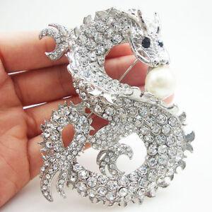Silver Tone Elegant Dragon Pearl Pendant Clear Rhinestone Crystal Brooch Pin