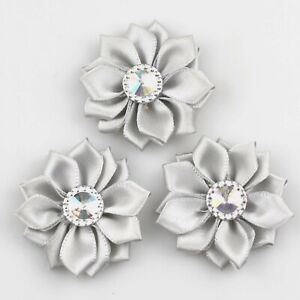 100X DIY 40mm Satin Ribbon Flower with Crystal Bead Appliques Craft/Trim Sewing