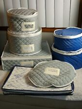 6 Piece Quilted Fabric Zippered Dinnerware Storage Container Set