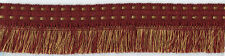 "2"" BURGUNDY & GOLD BRAID BRUSH FABRIC FRINGE TRIM 5 YARDS"