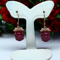 NATURAL 9 X 10 mm. CABOCHON RED RUBY & WHITE CZ EARRINGS 925 STERLING SILVER