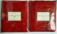 2 Pottery Barn Maroon Red Cameron Cotton Rideau Drape Pole Top Curtains 50x84""