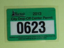 2013 West Bend Wisconsin Vehicle Drop Off Permit Tax License Decal Sticker