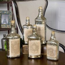 Shabby French Chic Label Recycled Mercury Glass Decorative Bottles, S/5