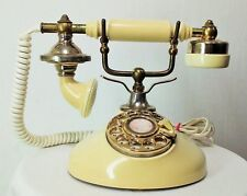 Vtg rotary dial phone telephone white victorian style round base TESTED EUC