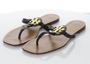 98-30 $178 Women's Sz 8 M Tory Burch Mini Miller Leather Logo Flat Sandals