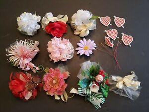 Lot Of 9 Ladies Vintage Silk Plastic Flower Corsages Valentine Bouquet Millinery