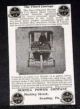 1902 OLD MAGAZINE PRINT AD, DURYEA XLS, THREE-WHEELED PHAETON MOTOR VEHICLE!