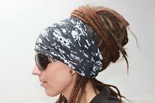 black skull Dreadlock Headband dread sock wrap scarf turban sleep cap locs