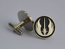 Star Wars Black and Silver Jedi Order Emblem Quality Enamel Cufflinks