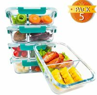 Premium Glass Meal prep Containers 2 compartments leak proof lids 5 pack 1040ml.