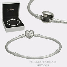 "Authentic Pandora Silver Bracelet Pandora Heart Clasp 7.9"" Hinged Box 590719-20"