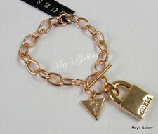 GUESS  Jeans Rhinestones  Bangle  Bracelet Rose Gold Tone Charms Lock    NWT