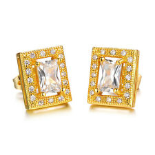18K Gold Plated Earring  Square AAA Cubic Zirconia Women's G200
