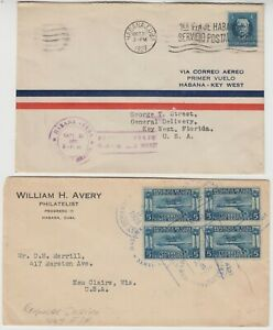 1927/1928 early air mail covers to KEY WEST UNITED STATES (1 FFC)
