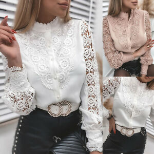 Womens Lace Long Sleeve Blouse Office Ladies Work Button Down Shirt Casual Tops