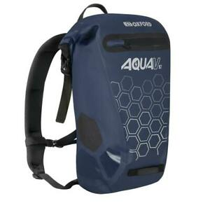 Oxford Aqua V 12 Wipe Clean Motorcycle Motorbike Backpack Navy