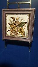 """Antique English 6"""" Fireplace Tile - Framed"""