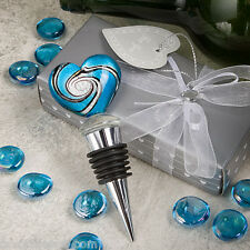 12 Murano Heart Design Wine Bottle Stoppers Wedding Favor Bridal Shower Favors