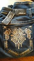 GRACE IN LA NWT DARK WASH SKINNY JEANS PLUS SZ 20 AZTEC EMBELLISHED EMBROIDERED