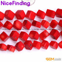 """Square Cubes Red Coral Loose Stone Beads For Jewelry Making Gemstone Strand 15"""""""