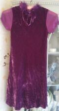 Pink Velvet Monsoon Dress with feather trim around neck. Girls  6-7 Years