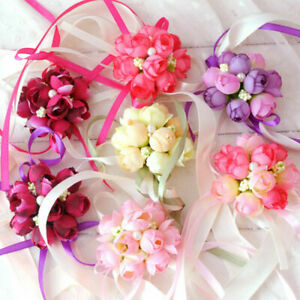 Women Wrist Corsage Bracelet Bridesmaid Sisters Hand Flowers For Wedding Party