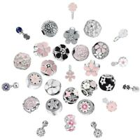 CZ Enamel Flower Charms Bead  Fit 925 Silver Sterling Bracelets Necklace