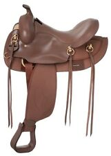 15 Inch Gaited Horse Western Trail Saddle - Brown Leather-Synthetic Round Skirt
