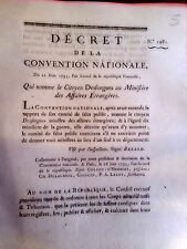 5 LOI & DECRET DE LA CONVENTION NATIONALE 1793  DESFORGUES  MINISTÈRE GUERRE