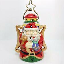 "6"" Vintage SILVESTRI Ceramic Christmas Santa Claus Tea Light Candle Holder"
